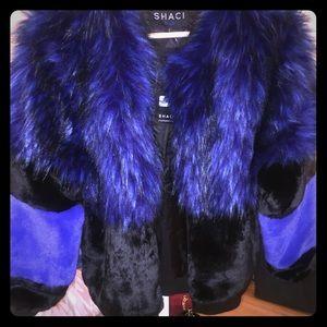 Blue and Black Fur Coat